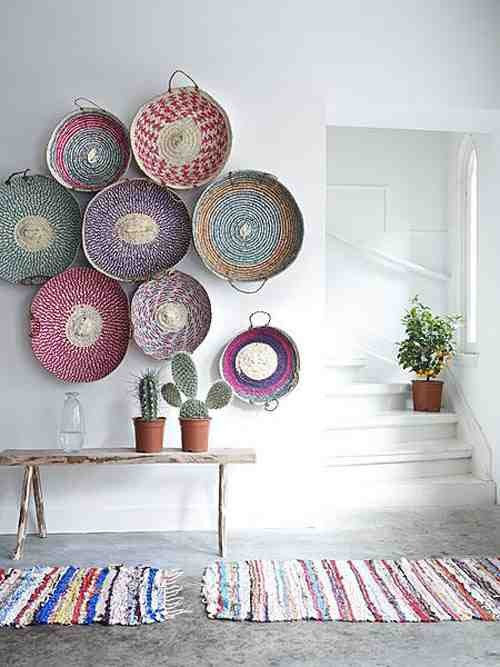 bohemian decor - bohemian interior design - eclectic decor - interior design - decor - living room design - woven baskets - wall baskets - wall art - cactus via Pinterest